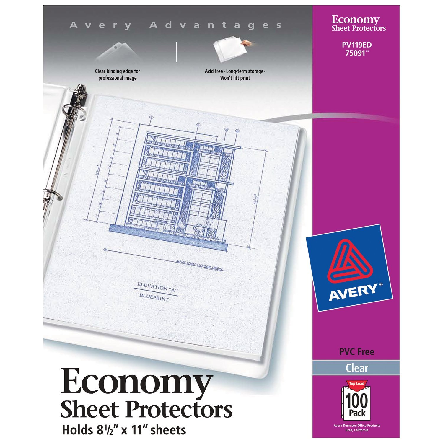 Avery Economy Clear Sheet Protectors, 8.5'' x 11'', Acid-Free, Archival Safe, Top Loading, 100ct (75091)