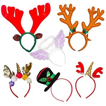 d6a1bf1b3d3c Pack of 6 Assorted Fun Christmas Fancy Dress Headbands  Amazon.co.uk  Toys    Games