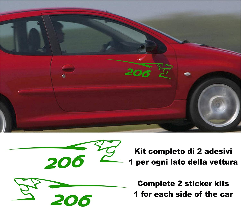 COPPIA ADESIVI STRISCE FIANCATE PEUGEOT RACING PER 206 207 208 106 307 308 VERDE