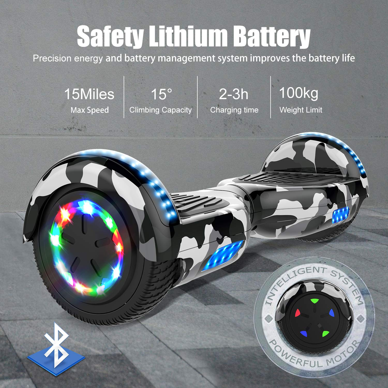 COLORWAY Hoverboard 6.5/'/' Smart Scooter Auto Bilanciamento Bluetooth Elettrico e LED Multicolor E-Skateboard Auto Balance