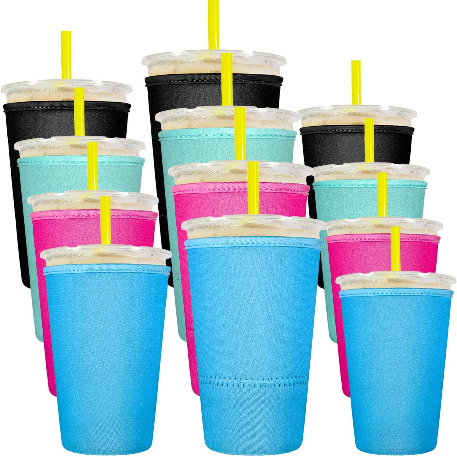 12 Pieces Reusable Iced Coffee Cup Sleeves Insulated Cup Covers Insulator Sleeves Drinks Holders for 10 to 32 Ounce Cold Hot Drink Beverages Cup Bottles, 3 Sizes, Black, Light Blue, Pink and Green