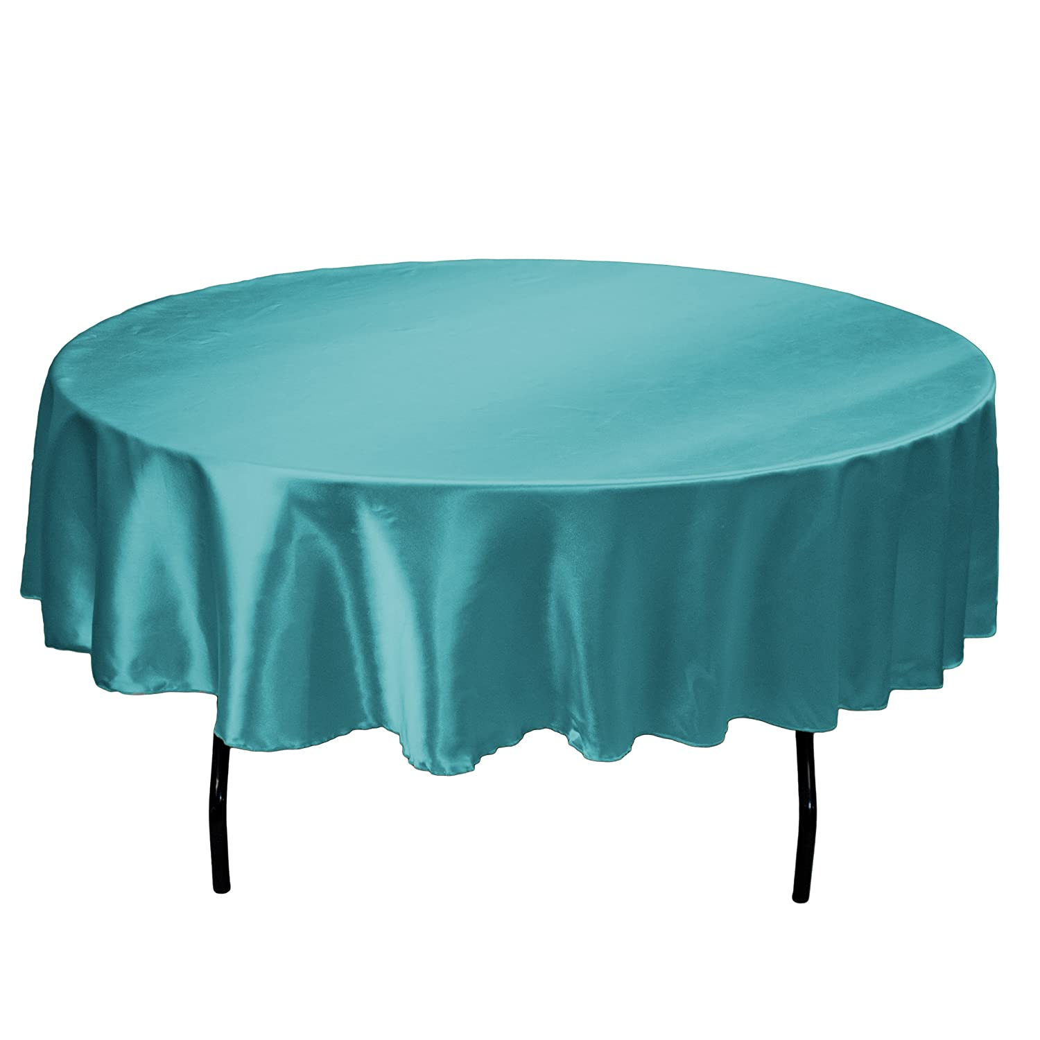 Amazon.com: LinenTablecloth 70 Inch Round Satin Tablecloth Turquoise: Home  U0026 Kitchen