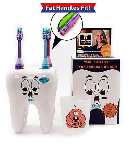 Mr. Toothy Kids - Soporte para cepillos de dientes con vaso para insectos de azúcar