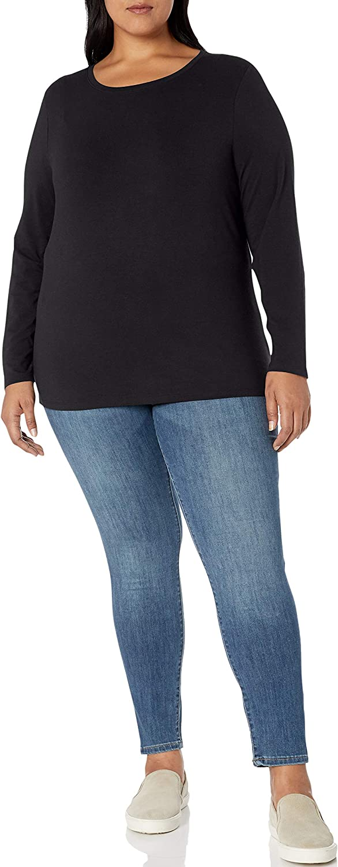 Essentials Womens Plus Size Long-Sleeve Crewneck T-Shirt T-Shirt