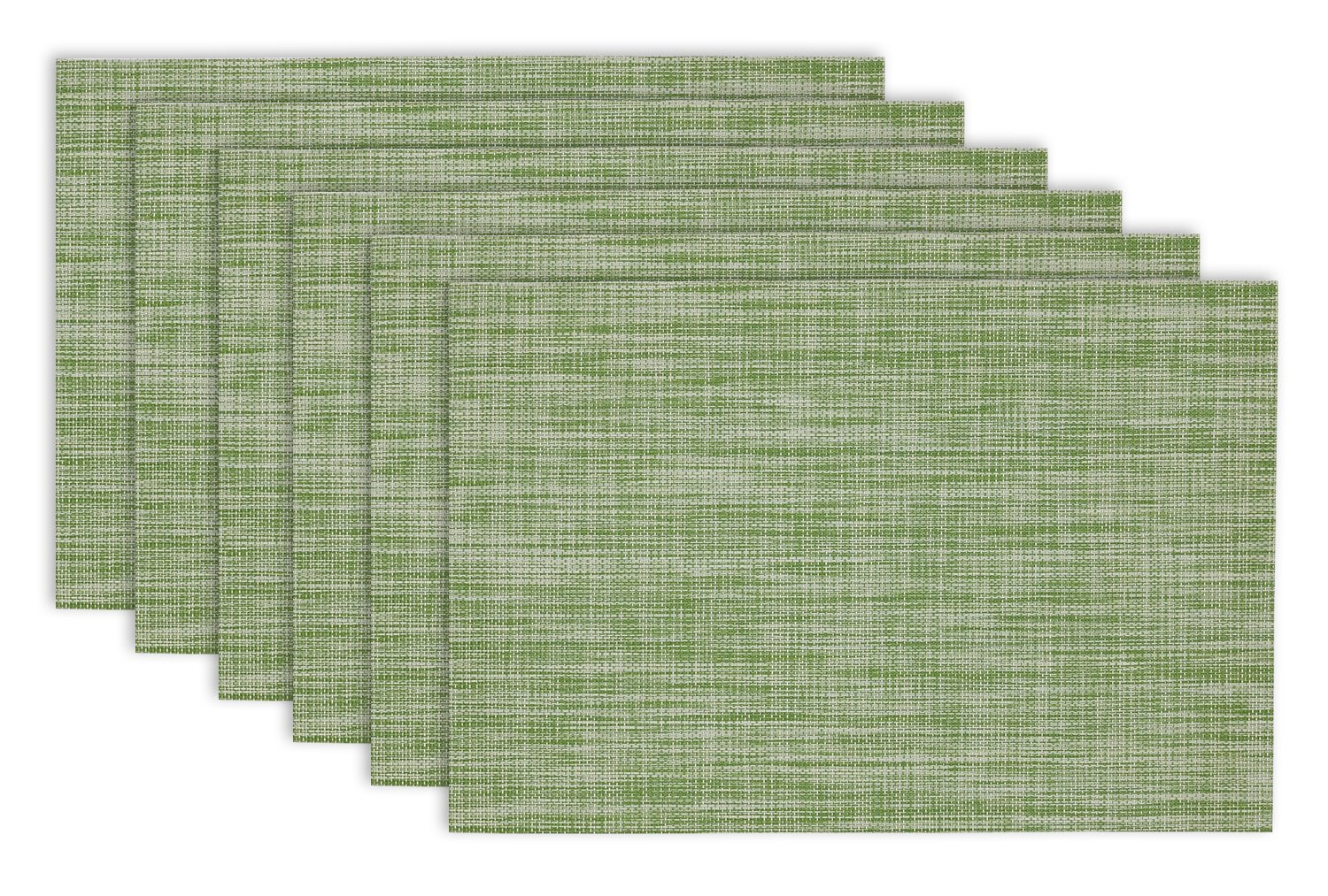DII Everyday, Easy to Clean Indoor/Outdoor Woven Vinyl 13x18'' Multi Color Crosshatched Placemats, Fig Green, Set of 6