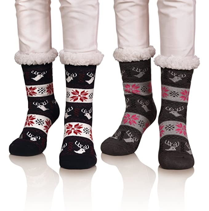 color city womens 2 pairs thick soft warm fleece lined cozy slipper socks winter