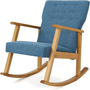 Christopher Knight Home Harvey Mid-Century Modern Fabric Rocking Chair, Muted Blue / Light Walnut