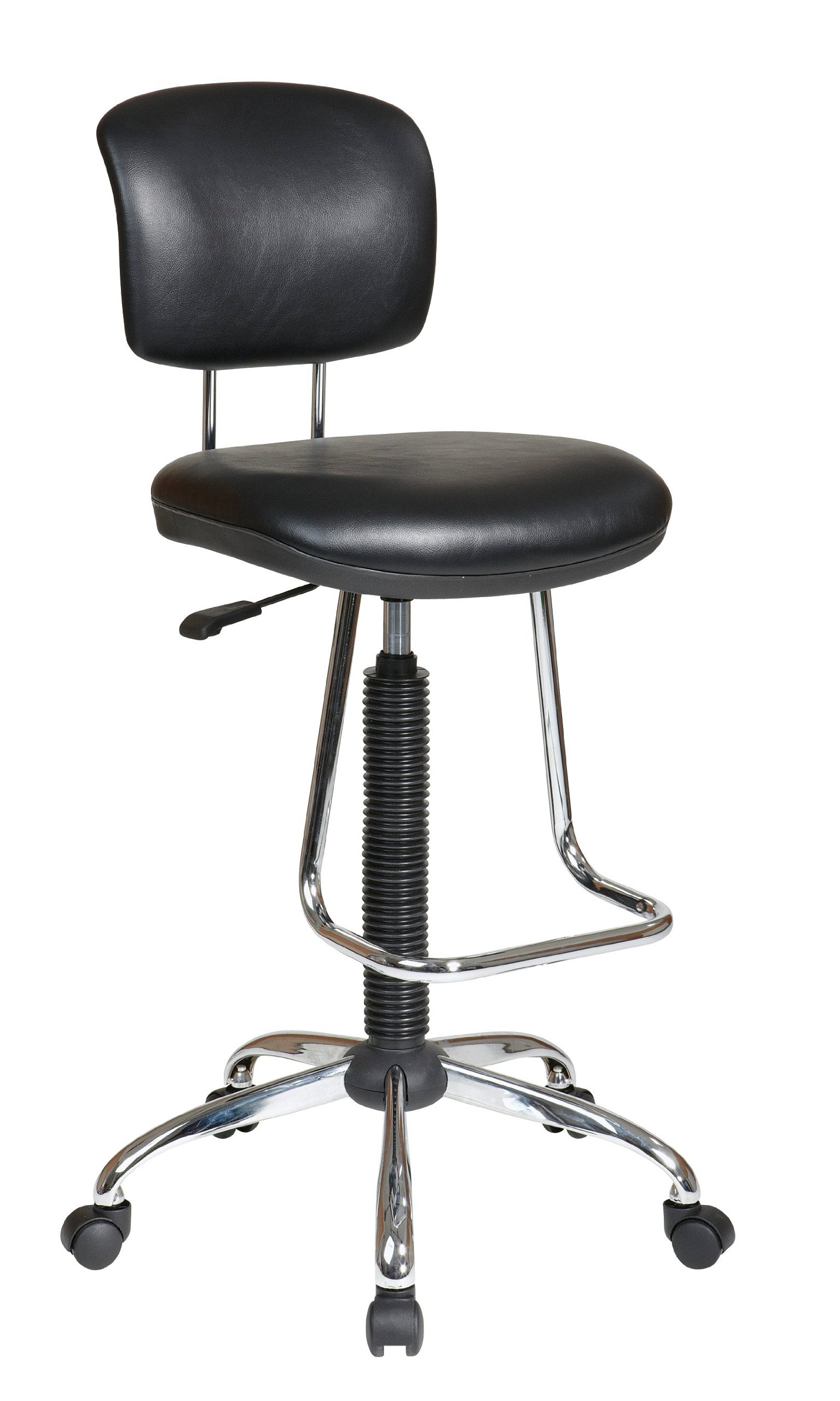 Office Star Pneumatic Drafting Chair with Casters and Chrome Teardrop Footrest, Vinyl Stool and Back by Office Star