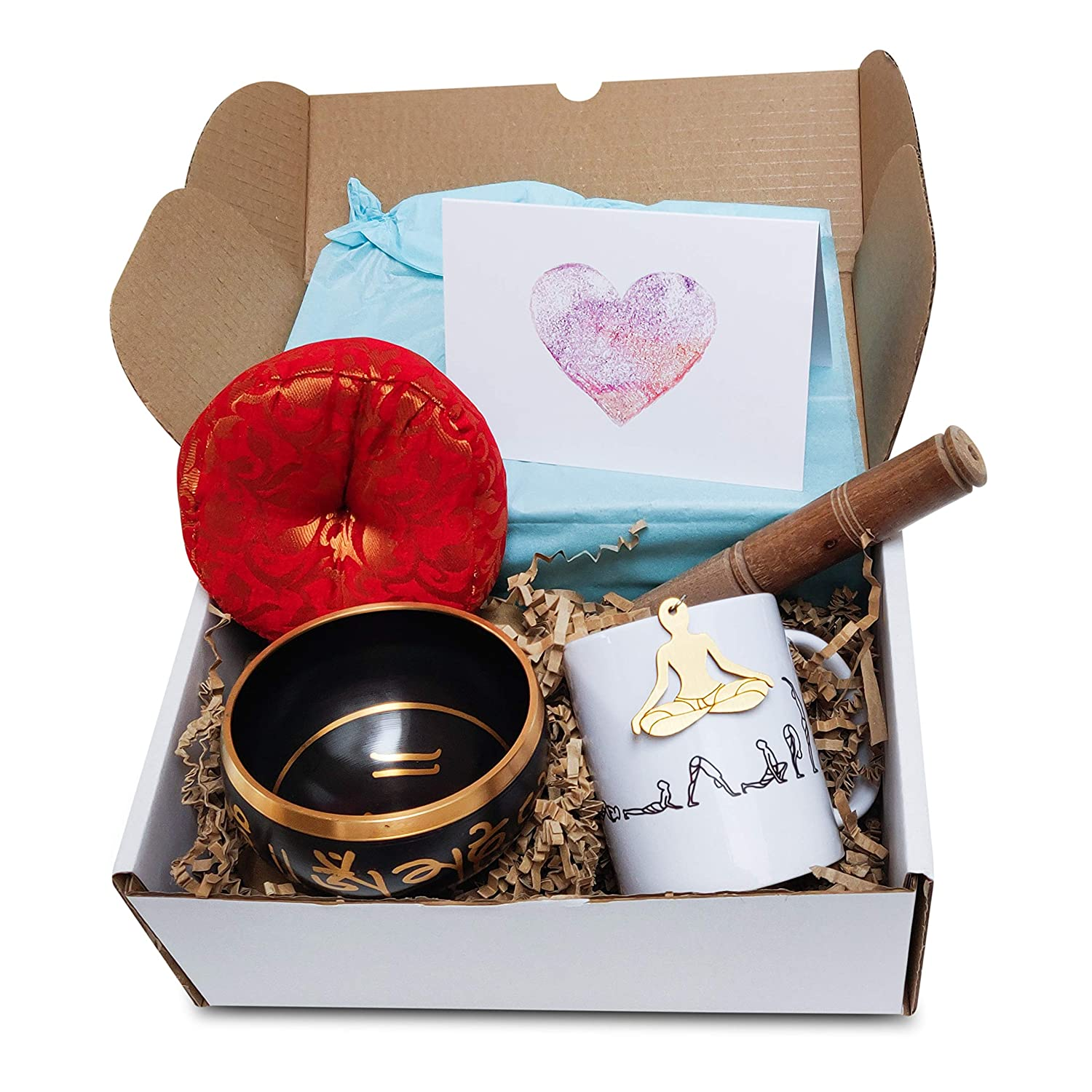 Mug /& Key Chain. Cushion Yoga Gift Hamper Stick Exclusive Gift Hamper Made for Yoga Lovers with The Singing Bowl