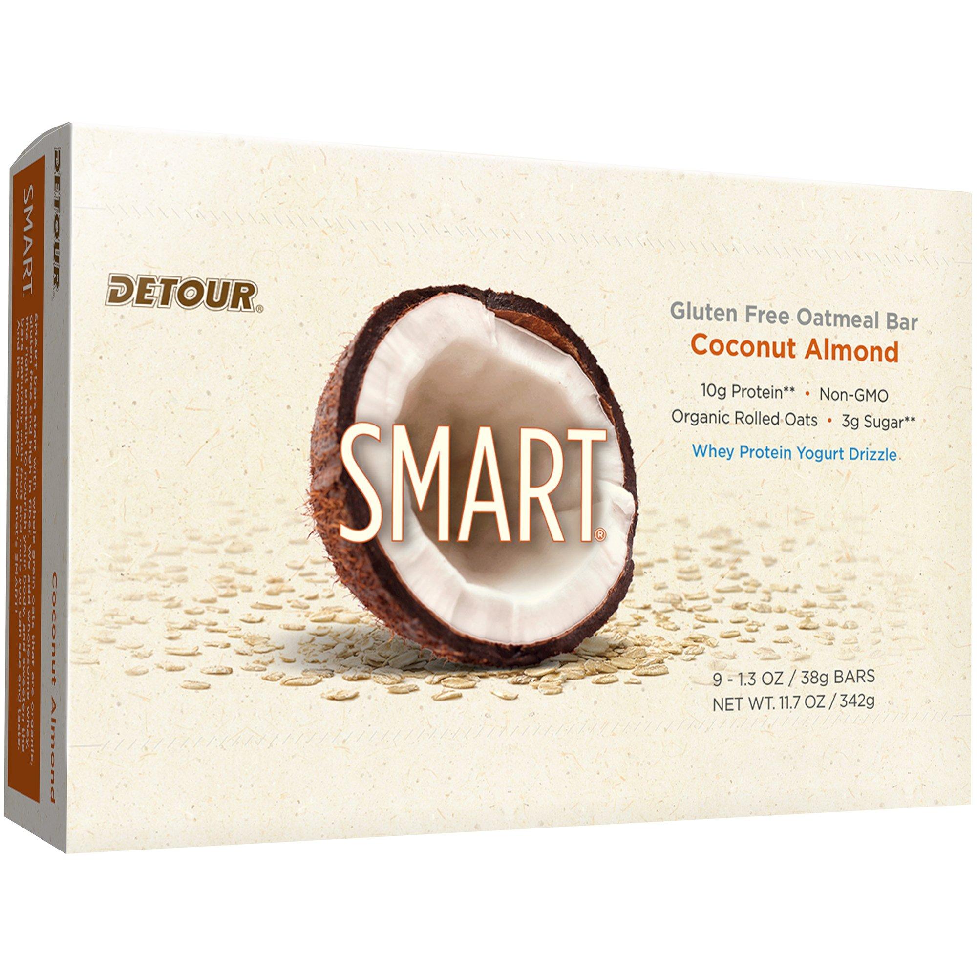 Detour Smart Gluten Free Oatmeal Bar, Coconut Almond, 11.7 Ounce, 9 count