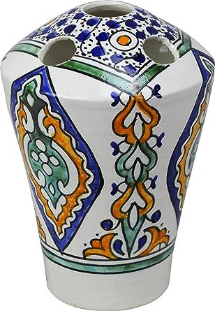 Fes/Amira 5 agujeros multicolor de cerámica pintado a mano – Soporte para cepillo de