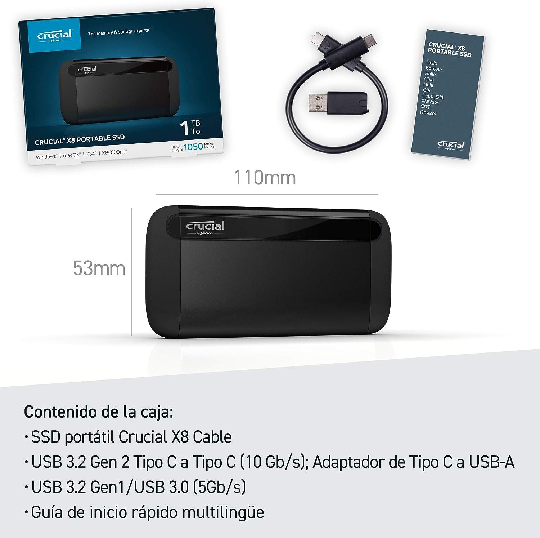 Crucial CT1000X8SSD9, 1 TB, X8 Portable SSD, de hasta 1050MB/s ...