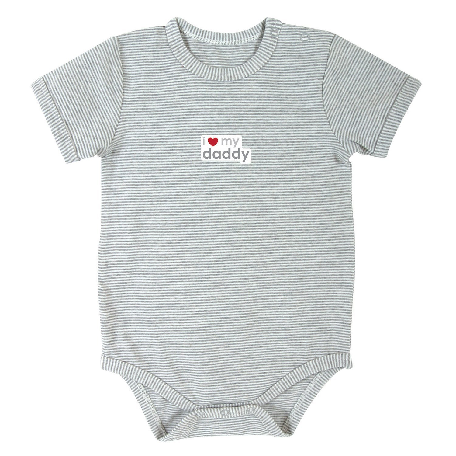 Stephan Baby Gray Stripe Snapshirt-Style Diaper Cover, I Love My Daddy, 0-3 Months