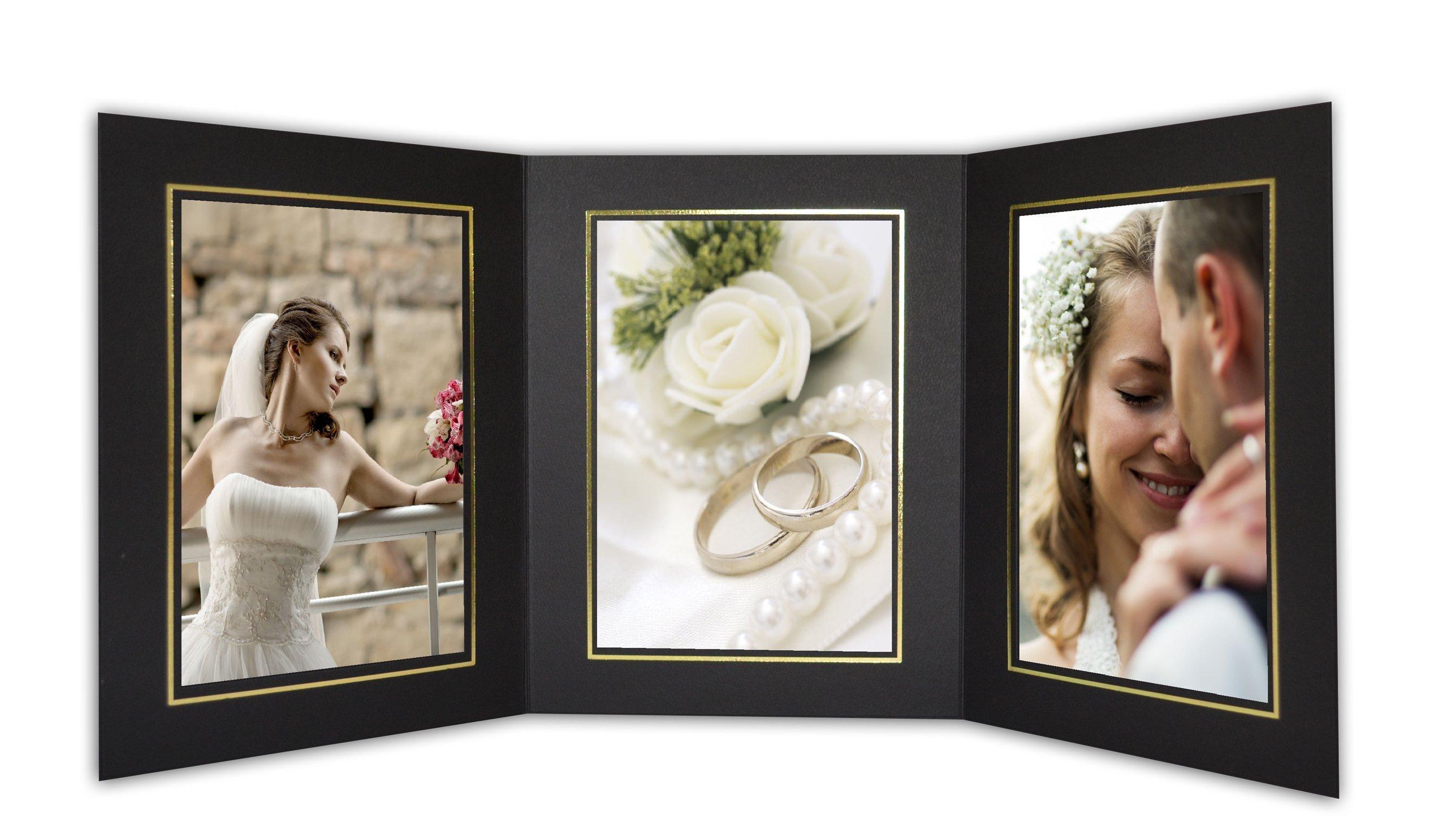 Golden State Art, Cardboard Photo Folder for 3 5x7 Photo (Pack of 50) GS005 Black Color