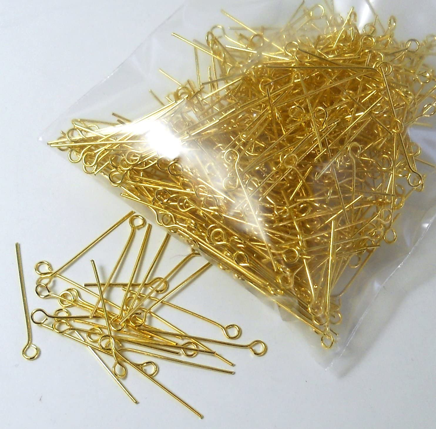 24 guage 45mm EYEPIN-GLD-0.5-45MM 50 pcs Gold Plated Brass Eyepins 1.75 inches