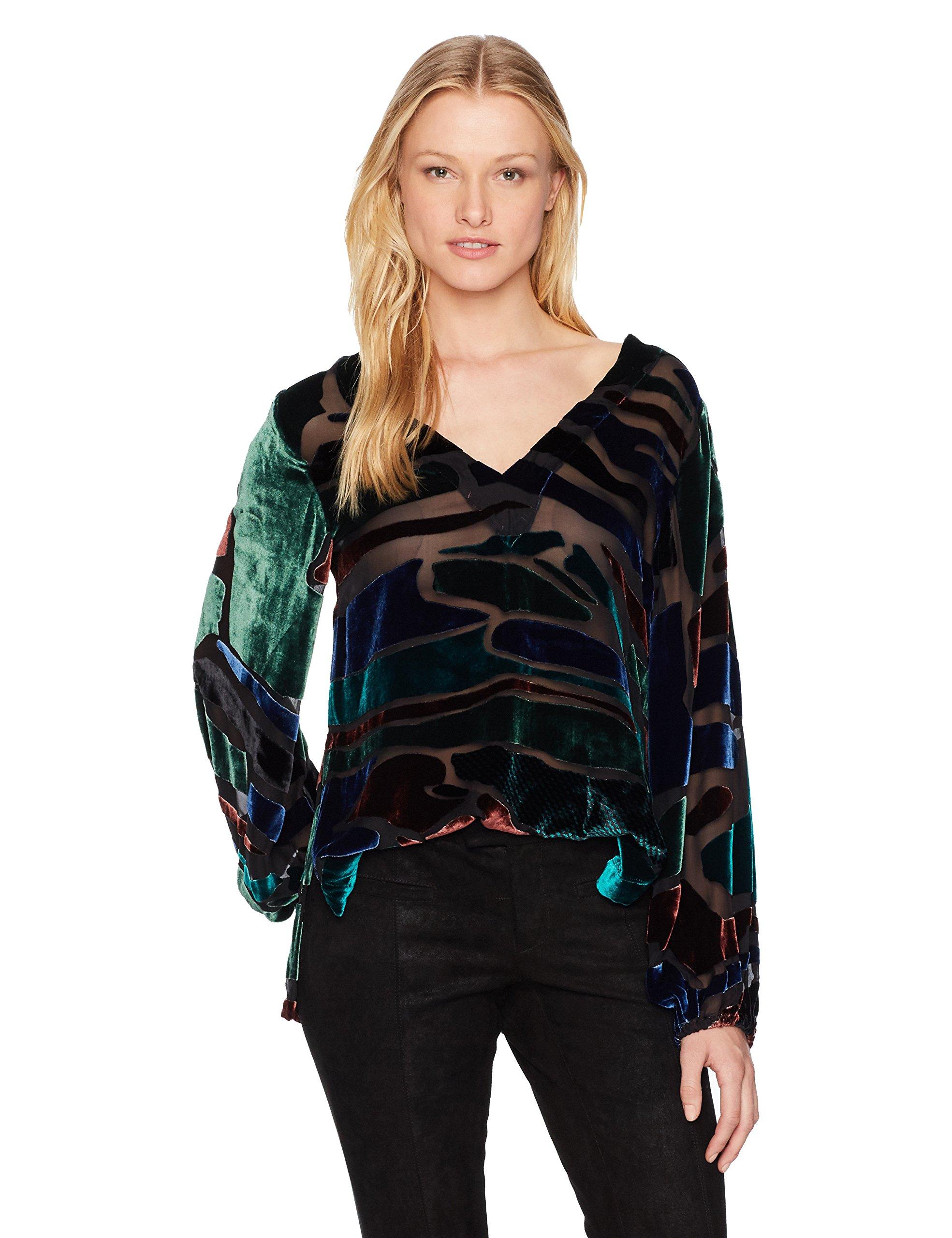 Nicole Miller Women's Penelope Colorblock Velvet Top, Multi, S