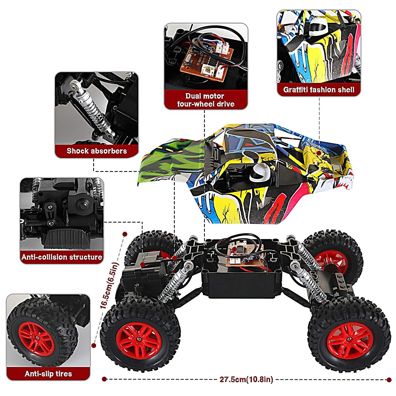 GoStock Coche de Control Remoto 1:18 Graffiti Coche RC 4WD Off Road Cami/ón RC Rock Crawler para Ni/ños Cada Pintado es /único