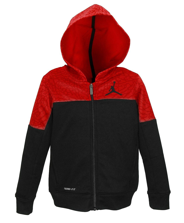 NIKE Boys Jordan Therma Fit Color Block Elephant Print Zip Up Hoodie Gym Red Size 4