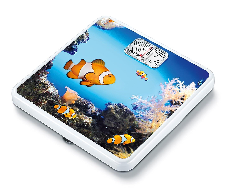 Korona Marinus Báscula de baño mecánicas motivo de peces, escala hasta 125 kg, intervalos en gramos 1000: Amazon.es: Salud y cuidado personal