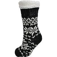 Ladies Fairisle Fleece Lined Chunky Slipper Socks