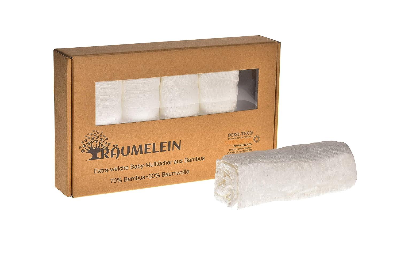 tr/äumelein Extraweiche und saugstarke Bambus-Mullwindeln//Spuckt/ücher 3er Pack 100/% Liebe 80x80cm 70/% Bambus 30/% Baumwolle wei/ß