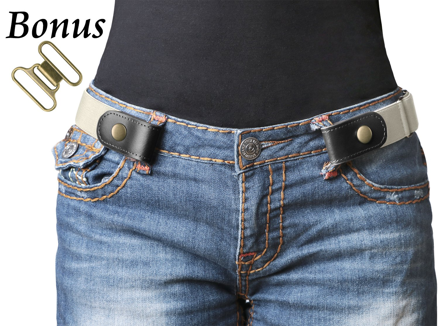 No Buckle Stretch Belt For Women/Men Elastic Waist Belt Up to 48'' for Jeans Pants (Pants Size 24''-36'', e-White) by WERFORU