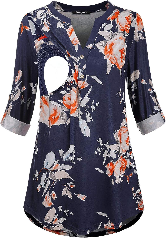 Quinee Women Maternity Shirt V Neck 3/4 Sleeve Nursing Top Breastfeeding Blouse