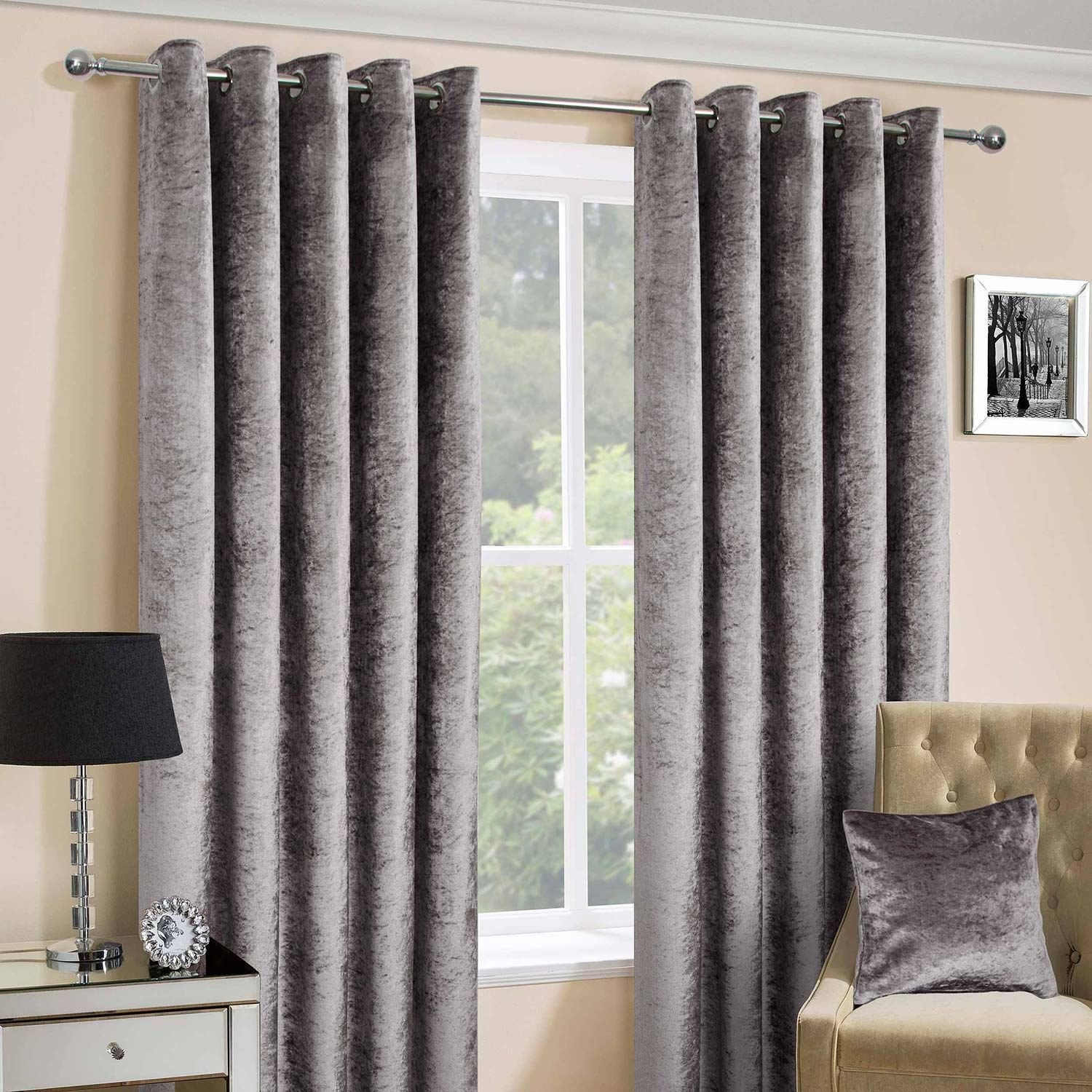 Homescapes Silver Crushed Velvet Lined Curtain Pair 90 X 72 Inch Drop 228 182