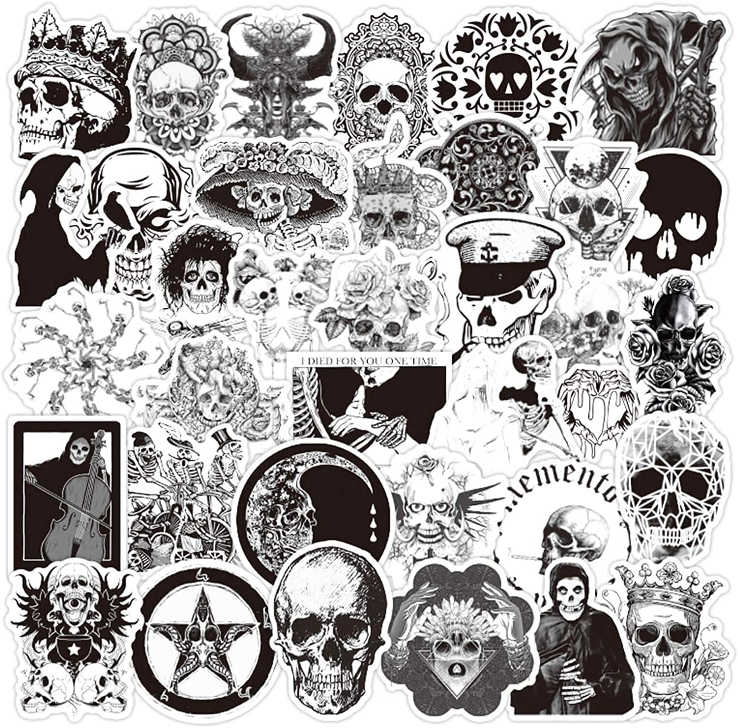 Halloween Sticker Gothic Stickers for Water Bottle Waterproof Vinyl Stickers for Laptop Phone Punk Sticker Horror Black and White Skull Sticker for Guitar Skateboard Luggage Decal Sticker (50Pcs)