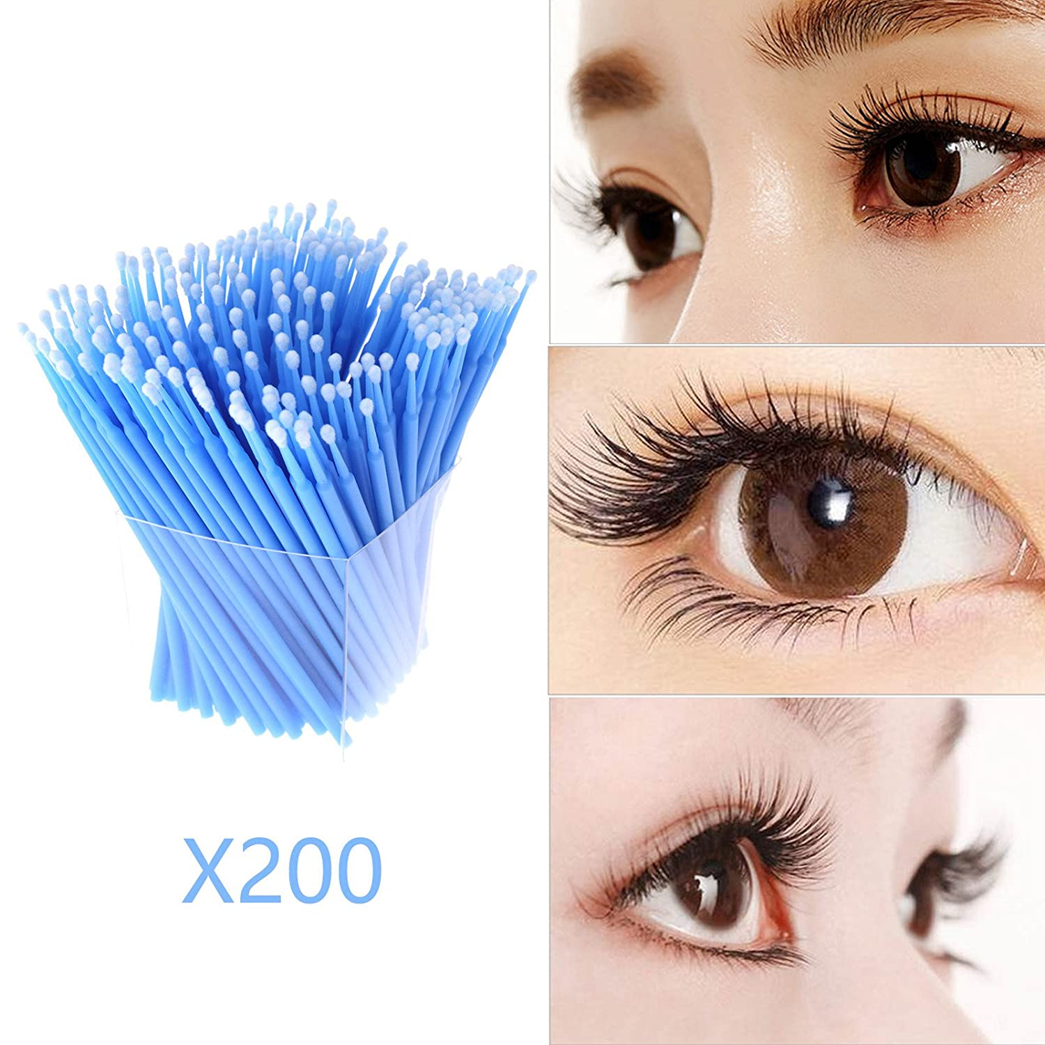 100x Microbrush Wimpernverl/ängerung Reinigungsst/äbchen Permanent Make Up Tattoo 2.5mm Blau