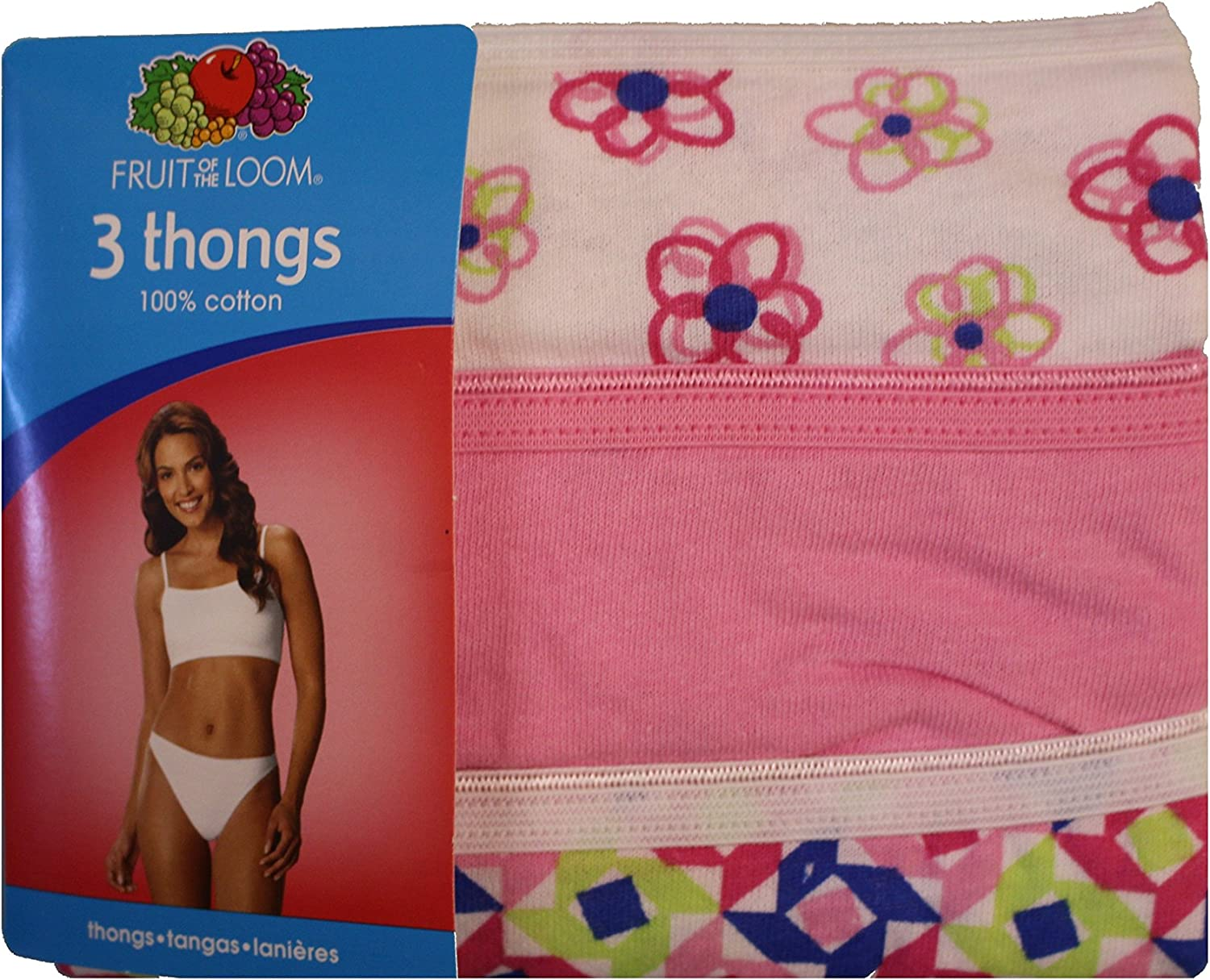 7 , Multi 3-Pack Fruit of the Loom Women 100/% Cotton Thongs,Print /& Color May Vary Large