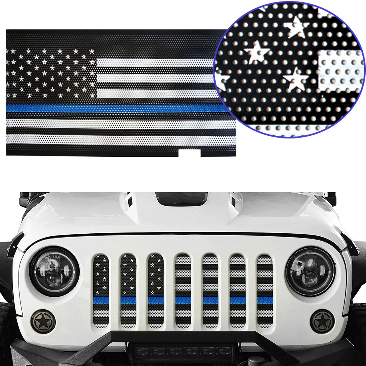 6eaf2a64 Amazon.com: MOEBULB Mesh Grille Insert Steel American Flag Front Grill for  2007-2018 Jeep Wrangler JK & Unlimited 2/4 Door (Thin Blue Line, ...