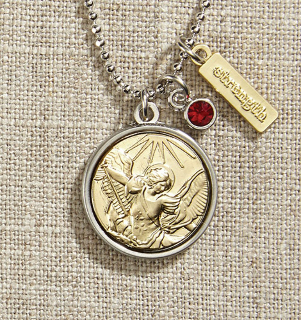 Set of 3 Vintage Blessings St. Michael Necklace with Silver Chain
