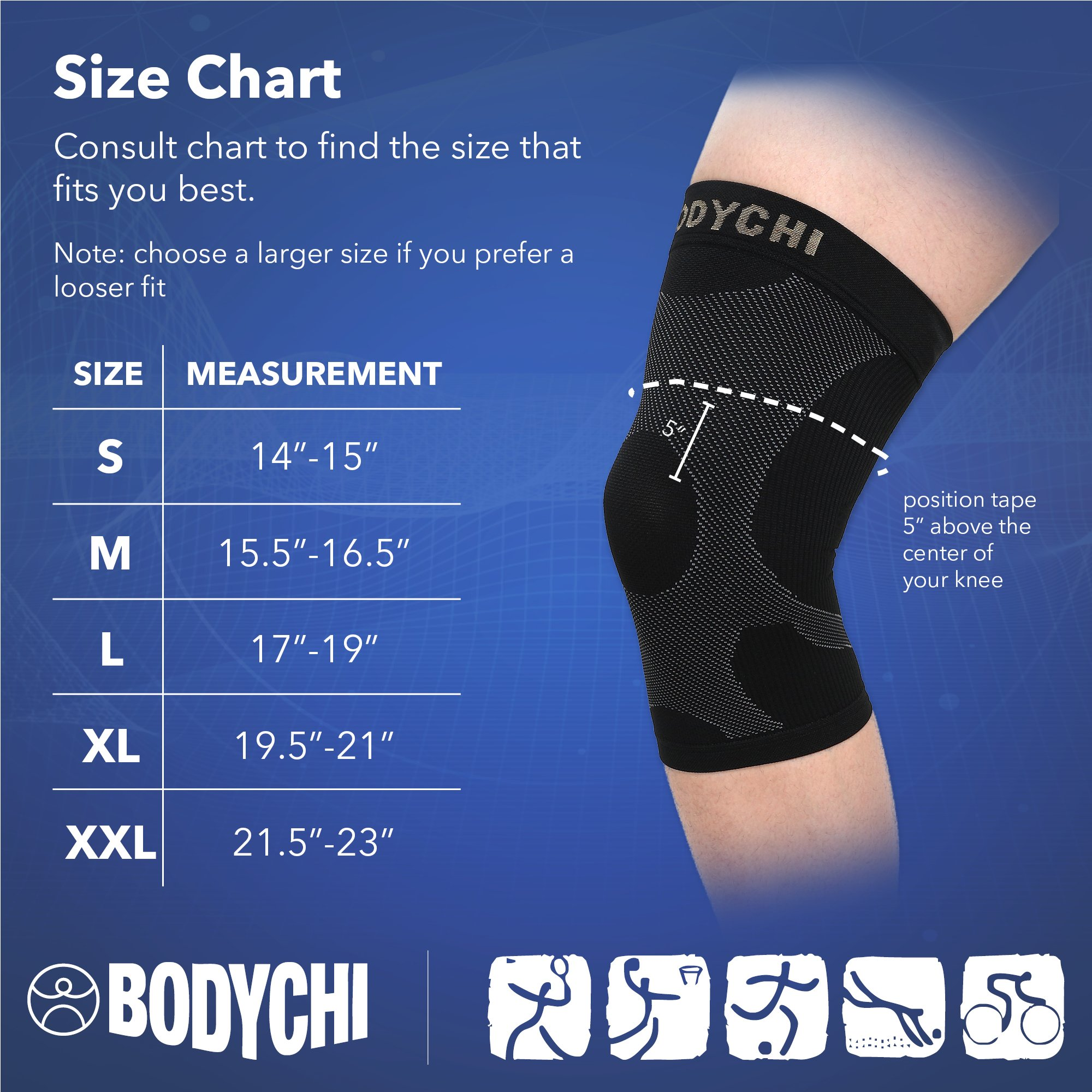 BODYCHI Men and Women Seamless 20-30 mmHg Compression Knee Support Sleeve for Joint Protection and Support for Running, Sports, Knee Pain Relief, Knee Sleeve, Comes in a Pair, Large by BODYCHI (Image #2)
