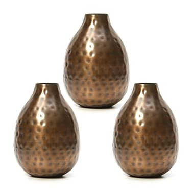 Hosley Set of 3 Antique Bronze Metal Bud Vases - 4.5  High. Ideal Gift for Wedding, Bridal, Home, Study, Spa or Aromatherapy O3