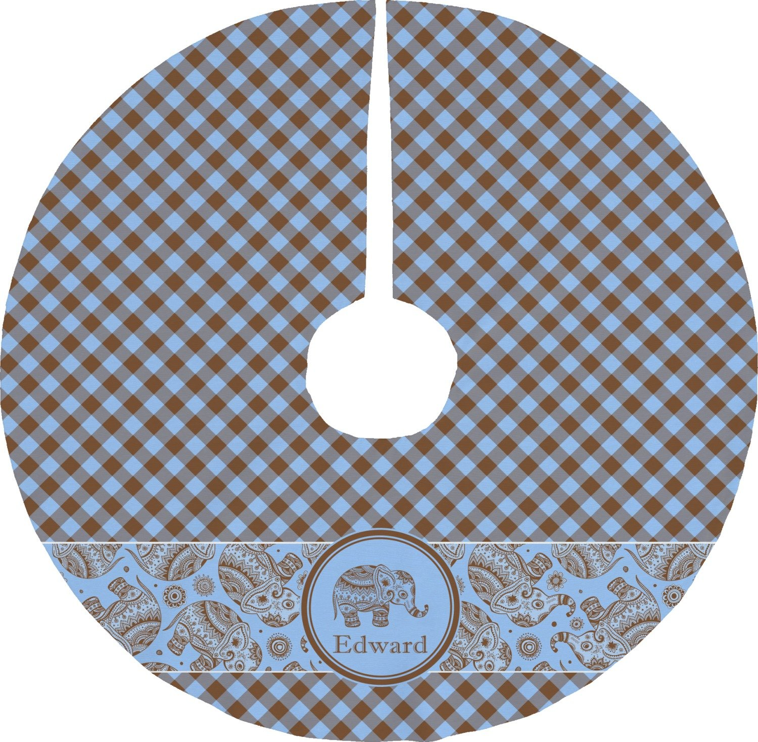RNK Shops Gingham & Elephants Tree Skirt (Personalized)