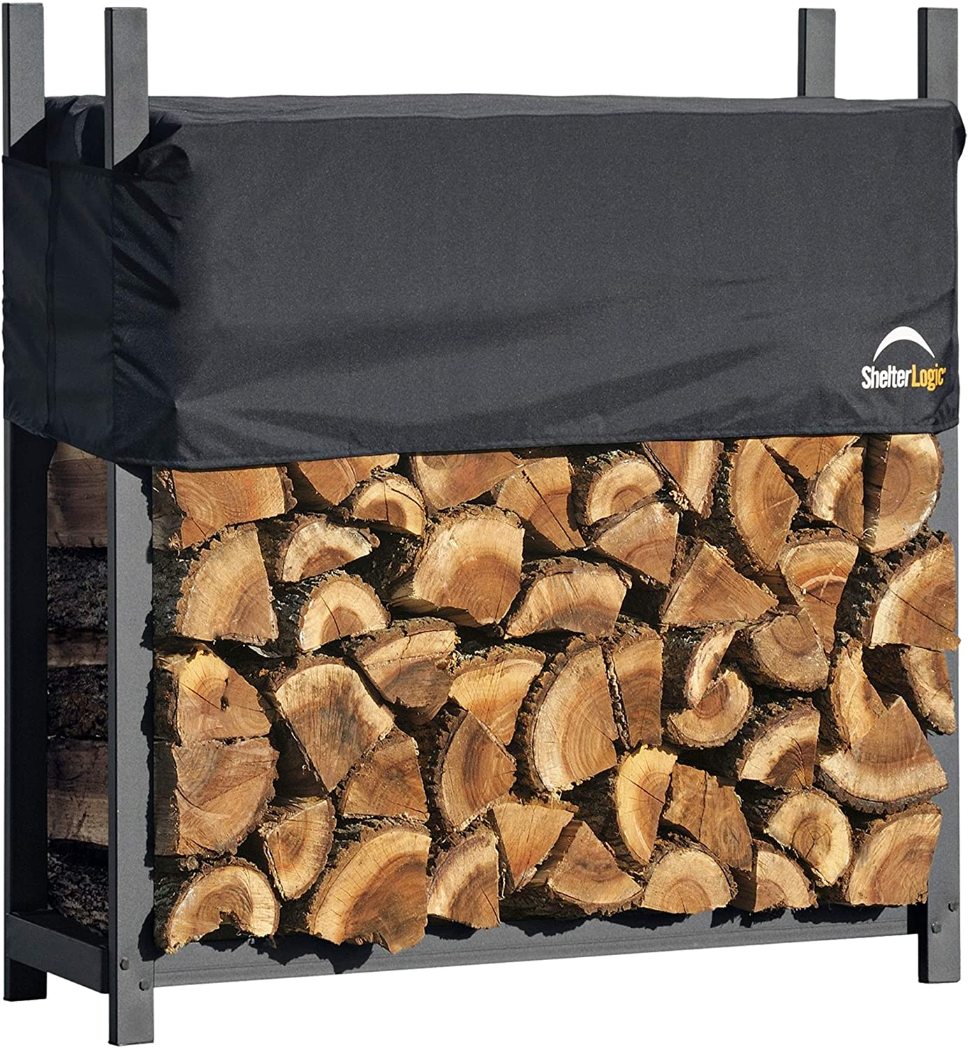 ShelterLogic 4 Ultra-Duty Firewood Rack-in-a-Box Wood Storage with Premium Steel Frame and Adjustable Water-Resistant Cover