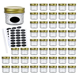 Encheng 4oz Glass Jars With Regular Lids,Mini Wide Mouth Mason Jars,Clear Small Canning Jars With Gold Lids,Canning Jars For Honey,Herbs,Jam,Jelly,Baby Foods,Wedding Favor,Shower Favors 40 Pack …