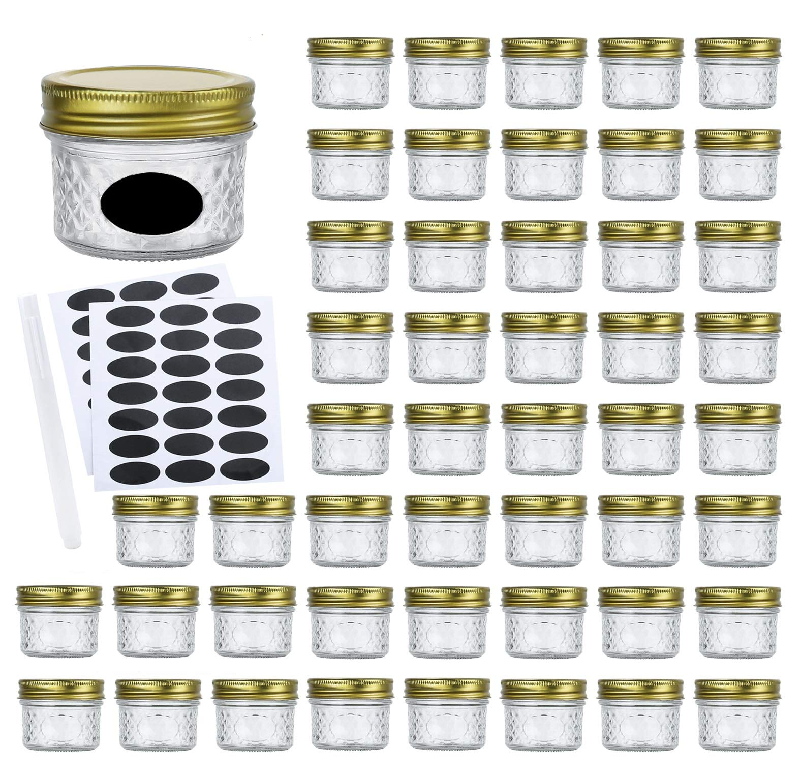 Encheng 4oz Glass Jars With Regular Lids,Mini Wide Mouth Mason Jars,Clear Small Canning Jars With Gold Lids,Canning Jars For Honey,Herbs,Jam,Jelly,Baby Foods,Wedding Favor,Shower Favors 40 Pack ...