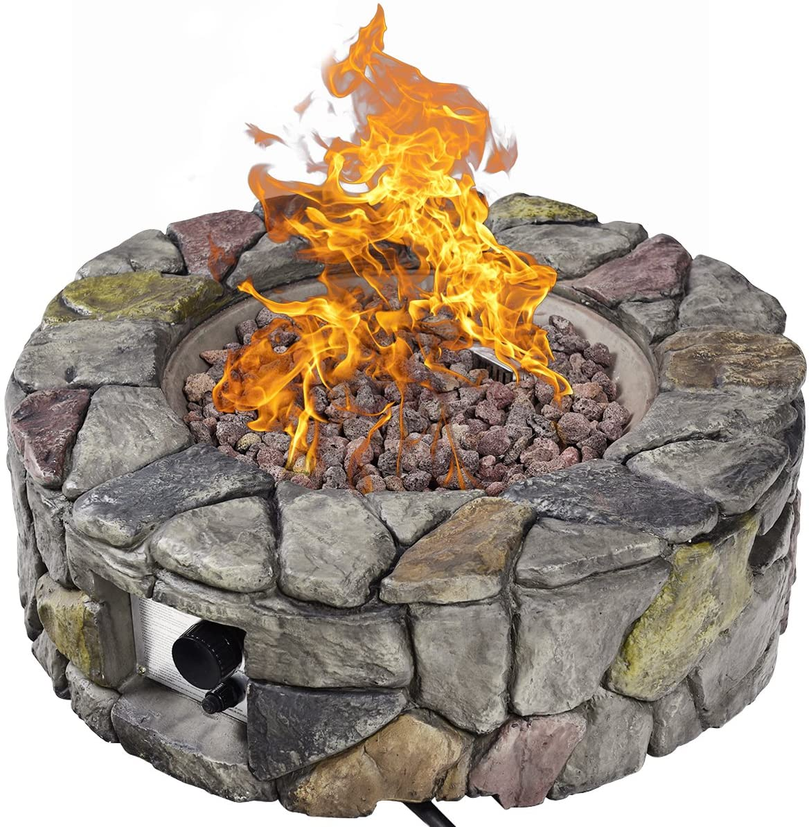 Amazon Com Giantex Gas Fire Pit 28 Inch 40 000 Btu Propane Fire Pit Outdoor W Natural Stone Cover Etl Certification Stainless Steel Gas Burner W Electronic Ignition Lava Rock Gray Garden Outdoor