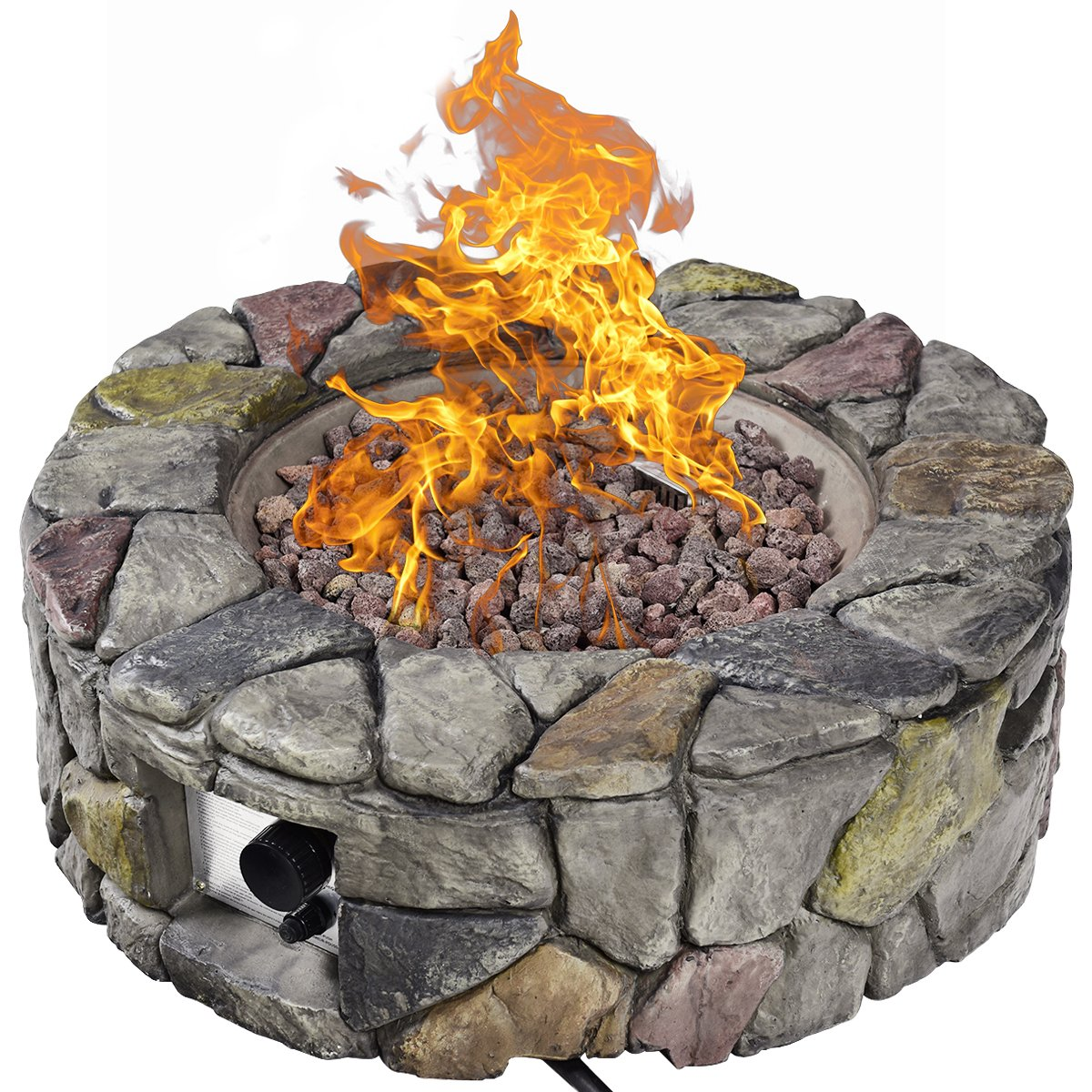 Giantex Gas Fire Pit Table Heavy Duty Outdoor Patio Natural Stone Rocks W Cover for Backyard, Garden Stainless-Steel Gas Burner