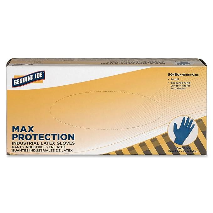 Pack of 50 Medium Dark Blue Genuine Joe GJO15378 Heavy-duty Powder Latex Industrial Gloves