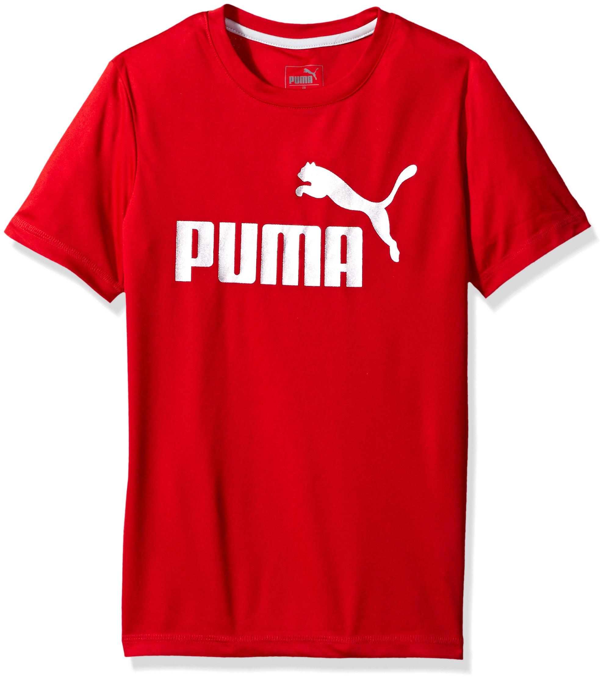 PUMA Big Boys' 1 Logo Tee, Fierce Red, Small