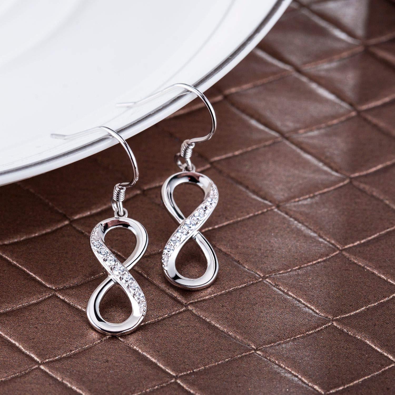 Billie Bijoux Femmes 925 Argent sterling Infini Pendre Boucles doreilles pendantes amour infini Cadeau de filles de bijoux de diamant de femmes de coupe ronde CZ de diamant