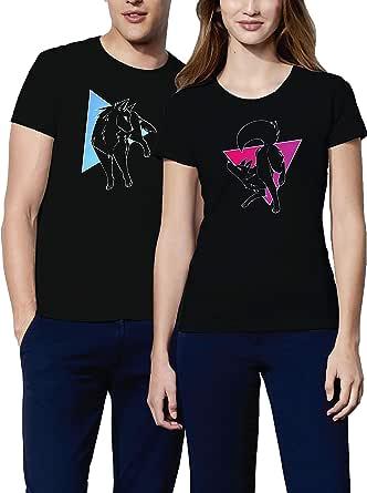 VIVAMAKE – Pareja de camisetas para hombre y mujer – Wolf ...