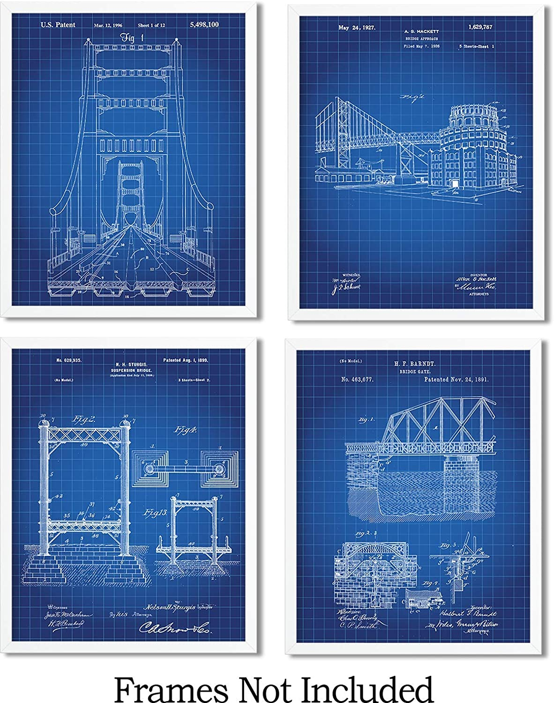 Amazon Com Bridge Architecture Patent Wall Art Prints Set Of Four 8x10 Unframed Wall Art Decor For Bridge Engineering Handmade