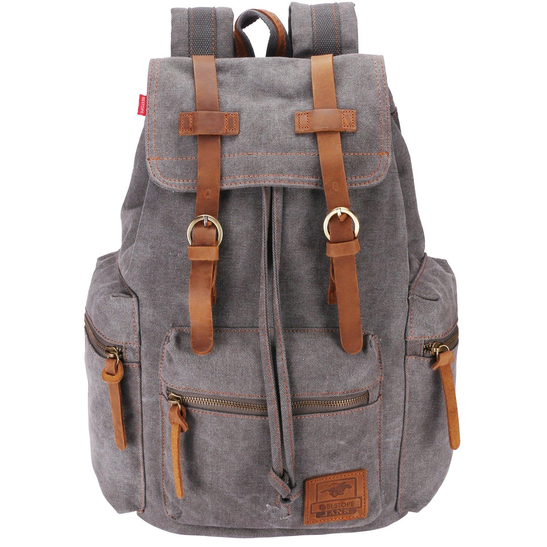 BESTOPE Canvas Backpack Unisex Rucksack Vintage Knapsack, College School Bags Casual Daypacks, Hiking Travel Shoulder Bag for Hiking/Camping/Outdoors BG003GR
