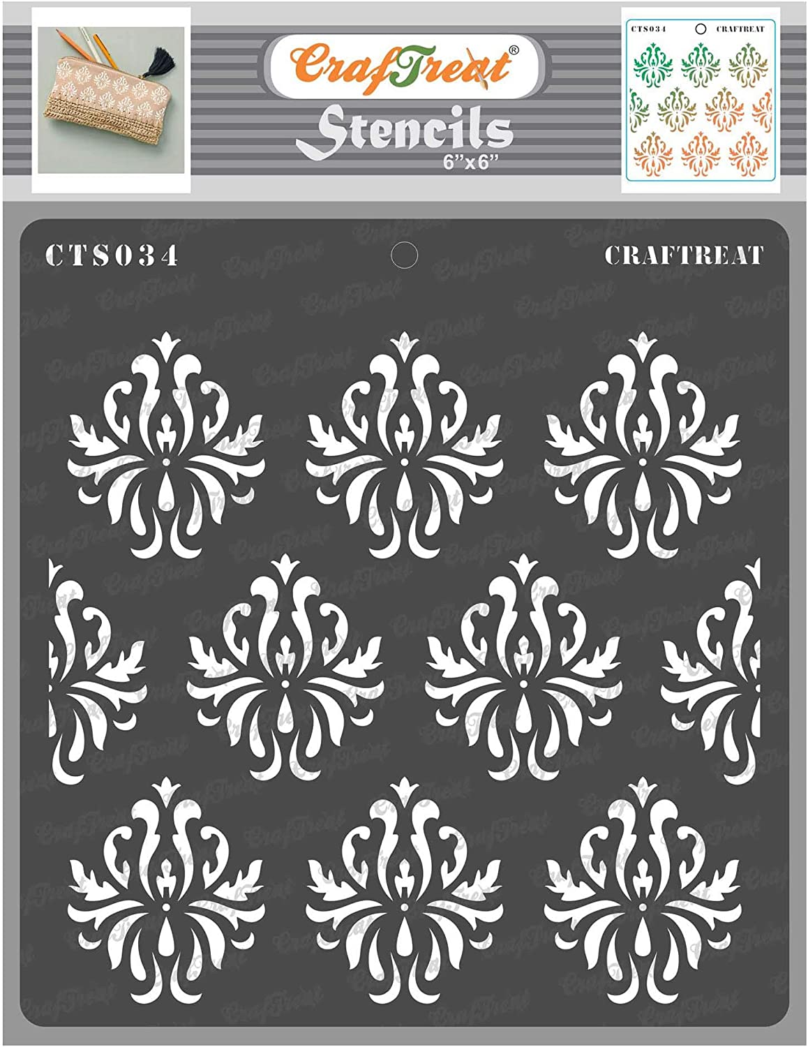 CrafTreat Damask Mandala Stencils for painting on Wood, Canvas, Paper, Fabric, Floor, Wall and Tile - Damask Background - 6x6 Inches - Reusable DIY Art and Craft Stencils - Damask Stencils
