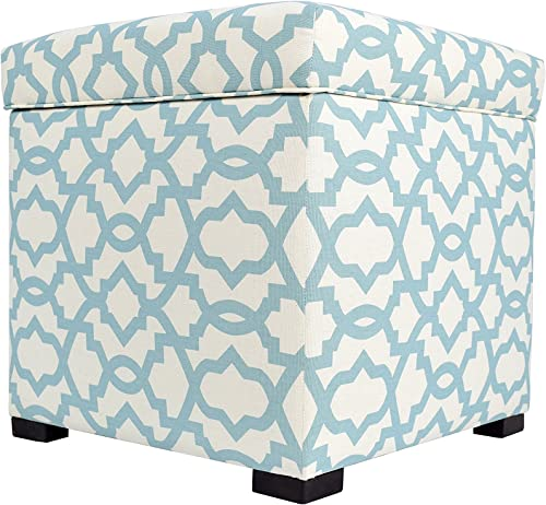 MJL Furniture Designs Tami Collection Upholstered Lift Top Square Storage Ottoman/Footstool
