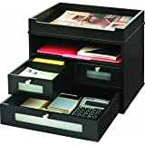 Victor Wood Midnight Black Collection, Tidy Tower Desktop Organizer, Black, (5500-5)